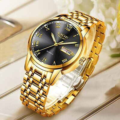LIGE Watches Mens Fashion Waterproof Stainless Steel Analogue Quartz Watch