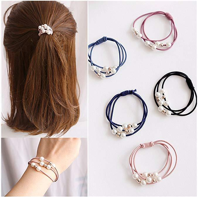 10 Pcs Women Girls Hair Band Ties Rope Ring Elastic Hairband Ponytail Holder Clothing, Shoes & Accessories