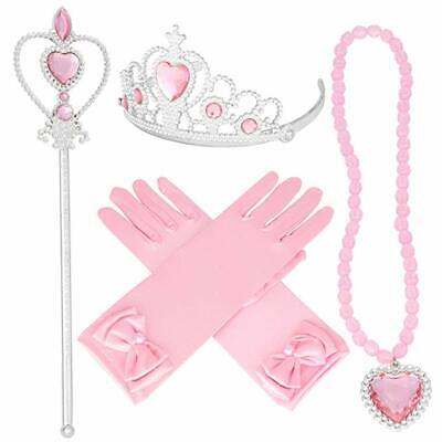 Tiaras and Crowns for Little Girls Princess Wands Gloves Pink Tiara and Necklace