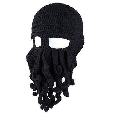 533b1e170a647 New Mens Kids Black Knit Octopus Beanie Bearded Beanie Cap Hat FREE SHIPPING