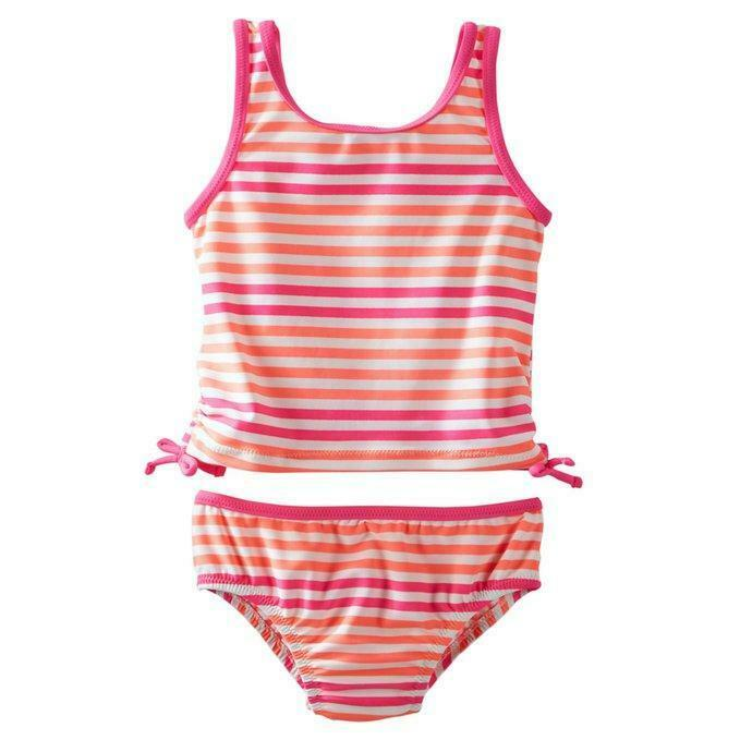 Osh Kosh Infant Girls Multi Color Striped Two Piece Swimsuit Size 12M $32