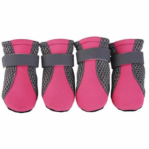 4pcs Dog Boots Feet Cover Waterproof Paw Protectors Shoes Strap AntiSlip Sole