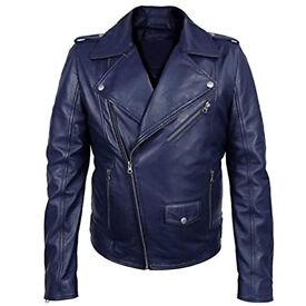 b123786f8b58 Novado Blue Biker Stylish Men Leather Jacket Warm and Protective Winter  Motorcycle Jacket
