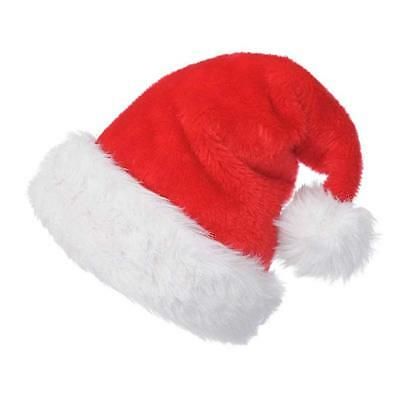 Christmas Party Adults Plush Santa Hat Red And White Cap for Santa Claus Costum  - Christmas Party Costumes For Adults