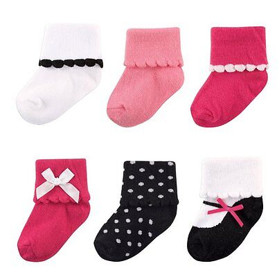 LUVABLE FRIENDS BABY GIRLS 6-PAIR DRESSY CUFF SOCKS SET 12-24 MONTHS  PINK NEW