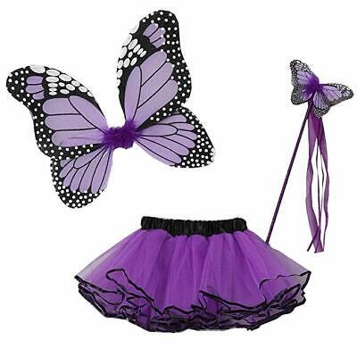 New Cute Little Girls Purple Butterfly Wings Wand Tutu Costume 3PC Set 2-4T (4t Butterfly Costume)