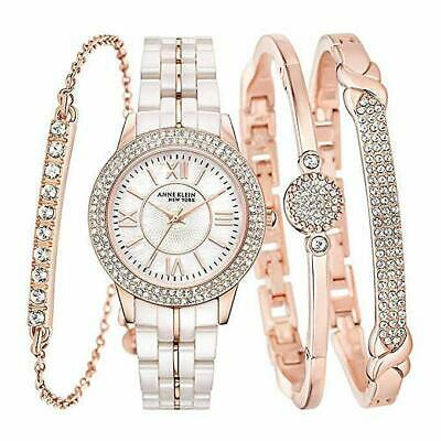 Anne Klein Ladies 12/2298RGST Crystal Accented Rose Gold-Tone Watch w/ MOP Dial