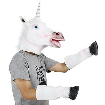 Unicorn Horse Head Mask Latex Prop Animal Cosplay Costume Party Halloween Mask