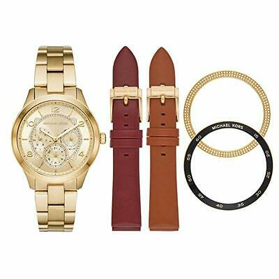 NEW Michael Kors Runway Gold Tone & Leather Watch Gift Set MK3982 Authentic NIB