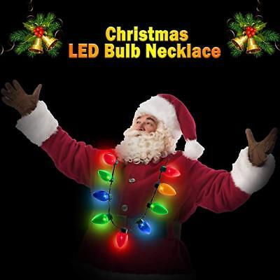 LED Light Up Christmas Bulb Necklace Party Xmas Gift ideas Jewelry Necklace HOT - Christmas Jewelry Ideas