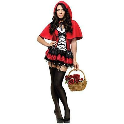 Deluxe Red Hot Riding Hood Costume Adult sz Small 6-8 New Fantasy Adult Red Hot Riding Hood