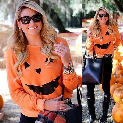 Halloween Fashion (Fashion Women Halloween Pumpkin Sweater Long Sleeve Pullover Hoodies Top CRA)