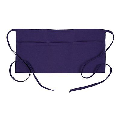 Restaurant Waiter Waitress Barista Half Bib 3-pocket Waist Apron Purple