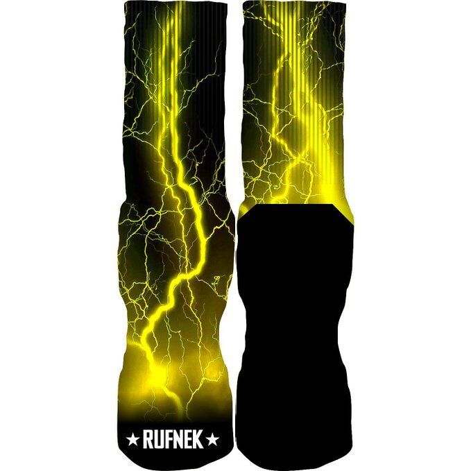 Original Rufnek Lightning and Thunder Bolts Black Yellow Unisex Crew Socks