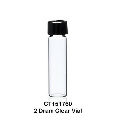 100 Small Clear Glass Vials 2 Dram - 14 Oz. 7.5 Ml Caps Included - Us Made