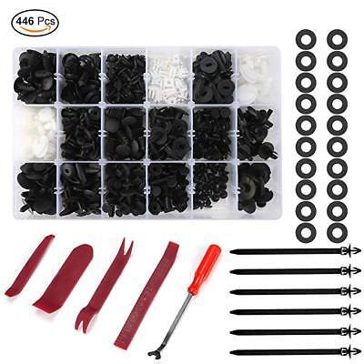 446Pcs Car Retainer Auto Clips Plastic Fastener Kit Fastener Removal Tool Bumper (Retainer Removal Tool)