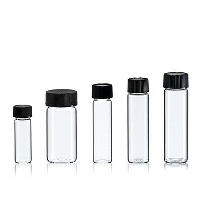Glass Vial Assortment 5 Sizes 1- 5 Dram Clear - Us Made - 25 Bottles With Caps