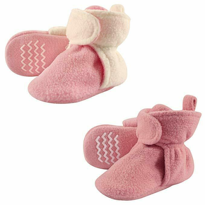 Hudson Baby Cozy Fleece Like Pink Booties Non Skid Bottom- S
