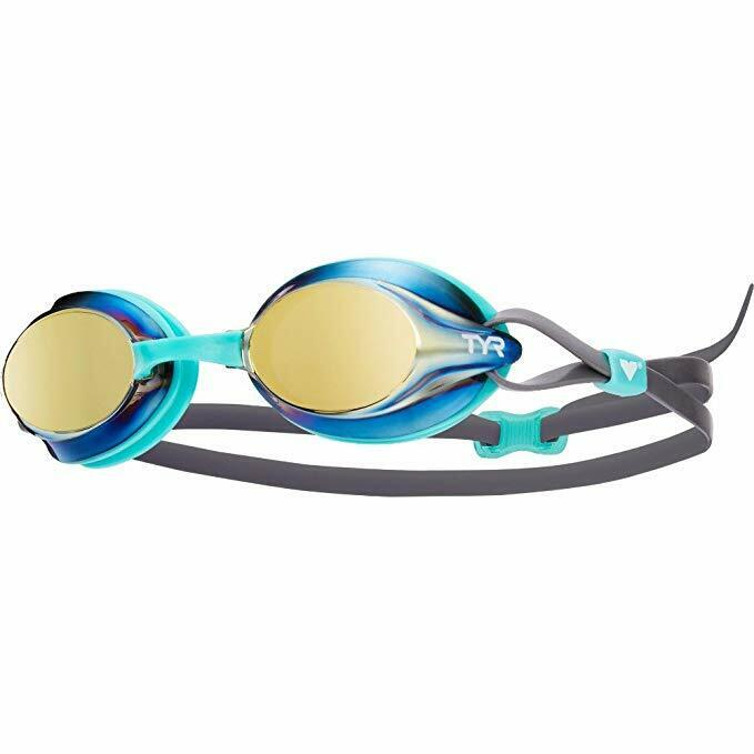 TYR Velocity Mirrored Adult Goggles - Gold/Mint/Grey