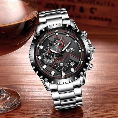 LIGE Watches,LIGE Stainless Steel Chronograph Sports Analog Quartz  Waterproof