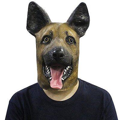 Novelty Latex Rubber Creepy German Shepherd Dog Animal Head Mask Halloween - German Shepherd Mask