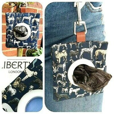 LIBERTY FABRIC DOG WALKING POOP BAG DISPENSER 'BEST IN SHOW' NAVY BLUE POUCH