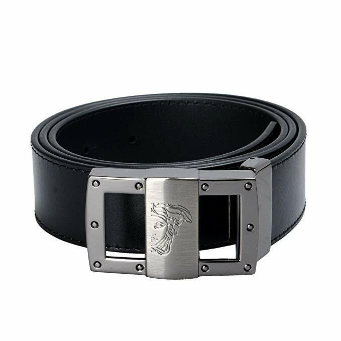 Versace Collection Mens Black Leather Half Medusa Adjustable Belt 200