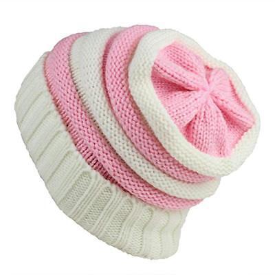 d5e89101831 New Womens YS Slouchy Knit Beanie Warm Winter Hat Pink White Stripes FREE  SHIP