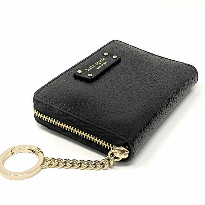 Kate Spade Black Leather Small Key Continental Ziparound Wal