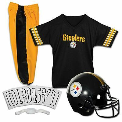 Kids Pittsburgh Steelers NFL Football Uniform Jersey Helmet Youth Costume Set S
