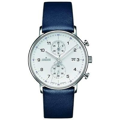 NEW Junghans 041/4775.00 Form C Chronscope Quartz Matt Silver Blue Leather Watch