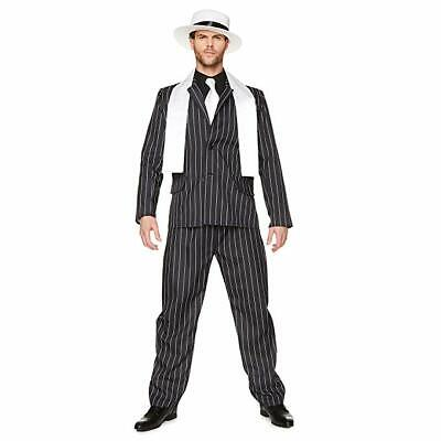 Mens Gangster Halloween Costumes (Karnival Gangster Mobster Boss Stripe Suit Adult Mens Halloween Costume)