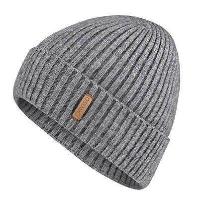 Warm Winter Knit Hat Wool Cuffed Beanie Hats with Lining Skull Cap for Men/Women Wool Skull Cap