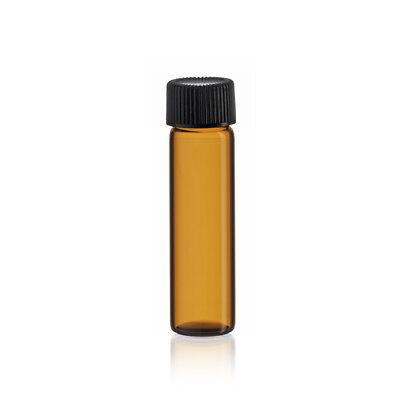 2 Dram Amber Glass Vials 17mm X 60 Mm Wcaps 144 Pcs In White Divider Box
