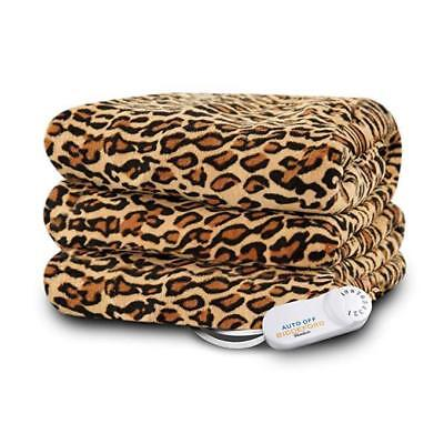 Electric Blanket Fleece Throw Cheetah Print  EXTRA SOFT warmer Heated  Bed couch