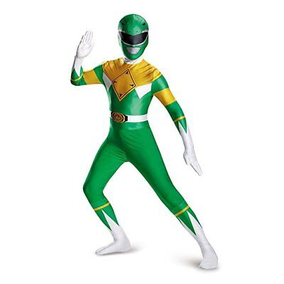 Disguise Green Power Rangers Cartoon Superhero Adult Men Halloween Costume 82842