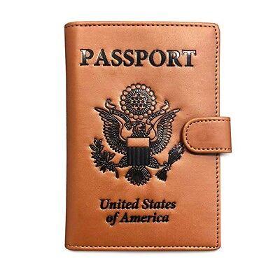 RFID Blocking Passport Holder Travel Wallet. Brown US Passport Cover