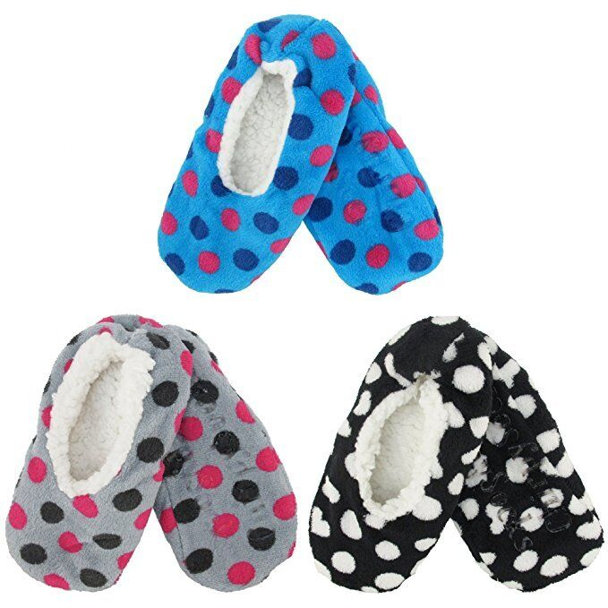 5287489ed58 Adult Women Warm Fuzzy Cozy Footies Slippers Non-Slip Lined Socks ...