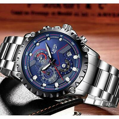 LIGE Mens Watches Fashion Waterproof Sport Analogue Watch Men Stainless Steel