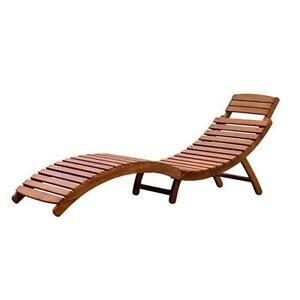 Wooden folding lounge new with tags and cushion