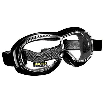 Motorradbrille Toronto, schwarz, klare Gläser, perfekt für Brillenträger