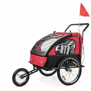 SAMAX Children Bike Trailer 2in1 Jogger Stroller with Suspension