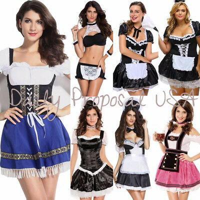 Serving Wench Halloween Costume (Sexy Adult Maid Serving Wench Beer Girl Romper Lingerie Halloween Costume)