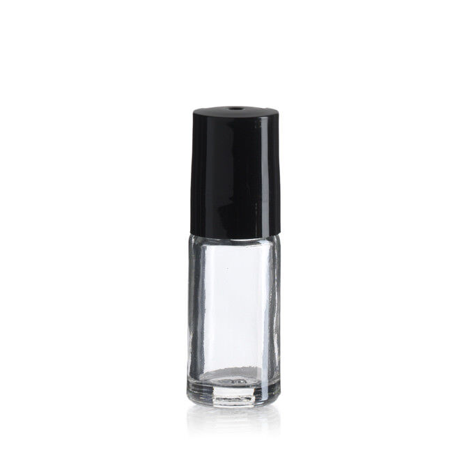 144 Plain Bottles 1/6 oz 5 ml Clear Glass Roll on with Black