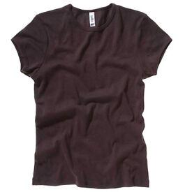 3 x Bella Canvas Ladies Baby rib short sleeve crew neck T-shirts Chocolate Brown Medium