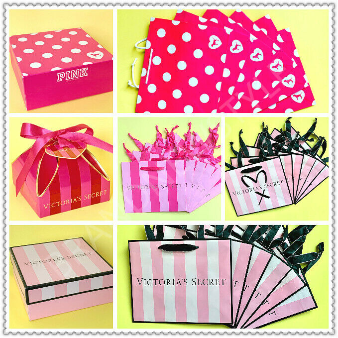 PINK DOG VICTORIA/'S SECRET STRIPE Holiday Small GIFT Shopping PAPER BAG LOT