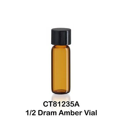100 Small 12 Dram Amber Glass Vials W Caps 12 X 35 Mm 116 Oz. 1.9 Ml
