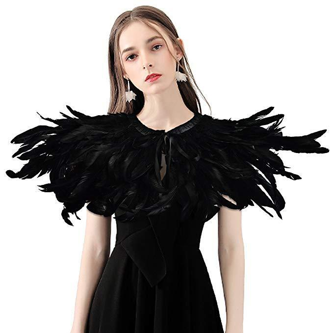 LVOW Gothic Victorian Feather Shrug Shawl Halloween Cape Stole Collar for Women