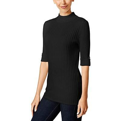 - Style & Co. Womens Black Ribbed Pullover Sweater Petites PM