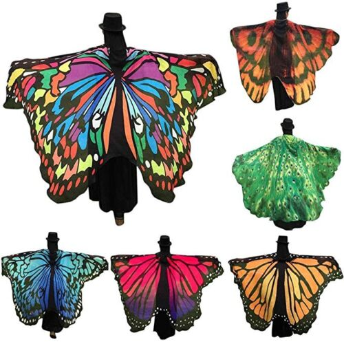 Scarf - Colorful Long Butterfly Wing Cape Dress Soft Scarf  Wrap Shawl Ladies Women New